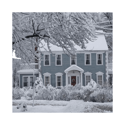 House with front yard in winter snow